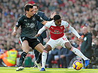 Burnley's Jack Cork vies for possession with Arsenal's Ainsley Maitland-Niles<br /> <br /> Photographer David Shipman/CameraSport<br /> <br /> The Premier League - Arsenal v Burnley - Saturday 22nd December 2018 - The Emirates - London<br /> <br /> World Copyright © 2018 CameraSport. All rights reserved. 43 Linden Ave. Countesthorpe. Leicester. England. LE8 5PG - Tel: +44 (0) 116 277 4147 - admin@camerasport.com - www.camerasport.com