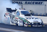 Aug. 16, 2013; Brainerd, MN, USA: NHRA funny car driver John Force during qualifying for the Lucas Oil Nationals at Brainerd International Raceway. Mandatory Credit: Mark J. Rebilas-