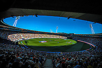A general view from the grandstand during the ICC Cricket World Cup one day pool match between the New Zealand Black Caps and England at Wellington Regional Stadium, Wellington, New Zealand on Friday, 20 February 2015. Photo: Dave Lintott / lintottphoto.co.nz