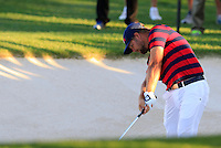 Ryan Moore US Team plays his 2nd shot from a fairway bunker on the 18th hole during Saturday Afternoon Fourball Matches of the 41st Ryder Cup, held at Hazeltine National Golf Club, Chaska, Minnesota, USA. 1st October 2016.<br /> Picture: Eoin Clarke | Golffile<br /> <br /> <br /> All photos usage must carry mandatory copyright credit (&copy; Golffile | Eoin Clarke)