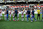 Rayo Vallecano´s players greet Levante UD´s players during 2014-15 La Liga match between Rayo Vallecano and Levante UD at Vallecas stadium in Madrid, Spain. February 28, 2015. (ALTERPHOTOS/Luis Fernandez)