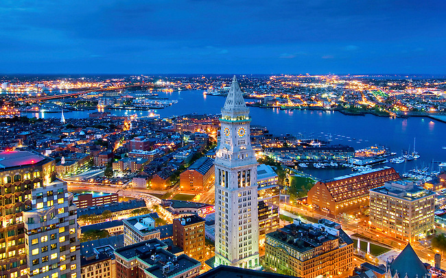 Rooftop view of the Custom House and Boston Harbor, Boston, Massachusetts