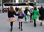 March 16, 2013 - New York, NY, U.S. - Girls in Irish Dance group costumes on their way to marching in the 252nd annual NYC St. Patrick's Day Parade.