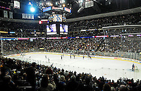 An overview of the Pepsi Center in Denver, Colorado during an NHL ice hockey game between the Pittsburgh Penguins and the Colorado Avalanche on January 10, 2009.