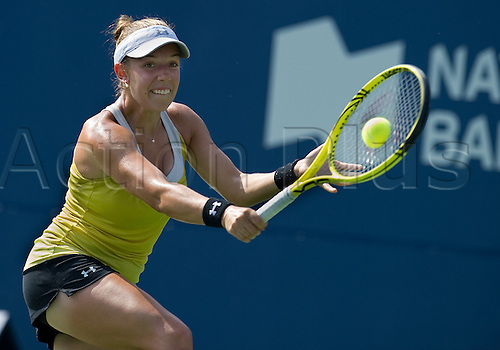 07.08.2011 Sharon Fichman of Canada in qualifying action against Simone Halep of Romania during the 2011 Rogers Cup at the Rexall Centre in Toronto, Ontario, Canada...Simone Halep of Romania won in straight sets 6-3,6-1.......