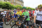 Race leader Yellow Jersey Geraint Thomas (WAL), Green Jersey Vasil Kiryienka (BLR) and Chris Froome (GBR) Team Sky line up for the ceremonial start of Stage 2 of the 104th edition of the Tour de France 2017, running 203.5km from Dusseldorf, Germany to Liege, Belgium. 2nd July 2017.<br /> Picture: Eoin Clarke | Cyclefile<br /> <br /> <br /> All photos usage must carry mandatory copyright credit (&copy; Cyclefile | Eoin Clarke)