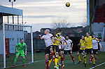 Clyde versus Edinburgh City, SPFL League 2 game at Broadwood Stadium, Cumbernauld. The match ended 0-0, watched by a crowd of 461. Photo shows City defending a set piece in the first-half.