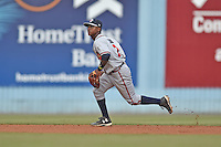 Rome Braves shortstop Ozzie Albies (7) during a game against the Asheville Tourists on July 25, 2015 in Asheville, North Carolina. The Braves defeated the Tourists 3-2. (Tony Farlow/Four Seam Images)
