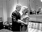 Washington, DC - (FILE) -- United States President Bill Clinton, left, and first lady Hillary Rodham Clinton, right, share a private moment at the United States Capitol after his address to a Joint Session of Congress on the economy on Wednesday, February 17, 1993..Credit: White House via CNP