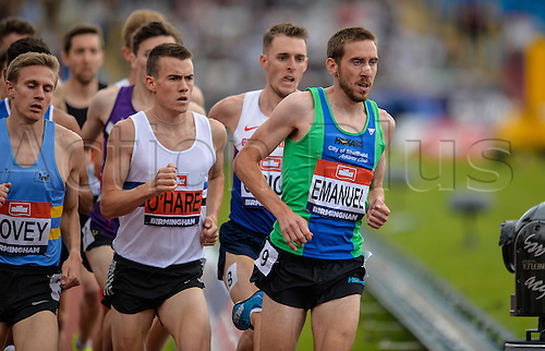 26.06.2016. Alexander Stadium, Birmingham, England. British Athletics Championships. Chris O'Hare tucks up into the pack on his way to winning the 1500m.