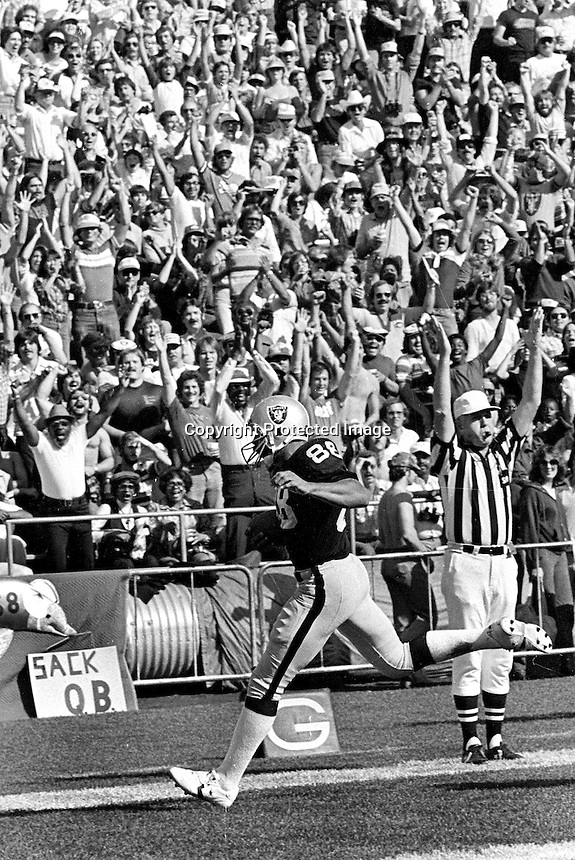 Raider tight end Raymond Chester scores TD against the Dolphins (1980 photo/Ron Riesterer)