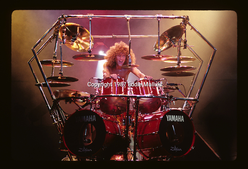 Tommy Aldridge of Whitesnake performs at Madison Square Garden in New York US