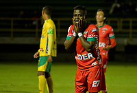 TUNJA -COLOMBIA, 07-07-2017: Carlos Mosquera jugador de Patriotas lamenta perder una opción de gol durante el encuentro entre Patriotas FC y Atletico Huila por la fecha 1 de la Liga Águila II 2017 realizado en el estadio La Independencia de Tunja. / Carlos Mosquera player of Patriotas laments to lose a goal opportunity during the match between Patriotas FC and Atletico Huila for the date 1 of Aguila League II 2017 played at La Independencia stadium in Tunja. Photo: VizzorImage / Javier Morales  / Cont