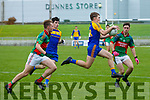 Lee Strand U16 County District Championship Football Plate Final Mid Kerry V Kenmare. Kenmare's Dan McCarthy, Mid Kerry's Jack O'Connor