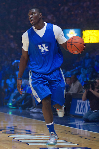 Freshman Alex Poythress, from Clarksville, Tenn., participates in his first Big Blue Madness. Kentucky held its annual Big Blue Madness practice to launch the 2012-13 basketball season at Rupp Arena in Lexington, Oct. 12, 2012. Photo by Derek Poore