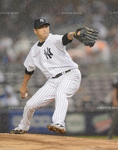 Hiroki Kuroda (Yankees),<br /> JULY 12, 2013 - MLB :<br /> Hiroki Kuroda of the New York Yankees pitches during the Major League Baseball game against the Minnesota Twins at Yankee Stadium in The Bronx, New York, United States. (Photo by AFLO)