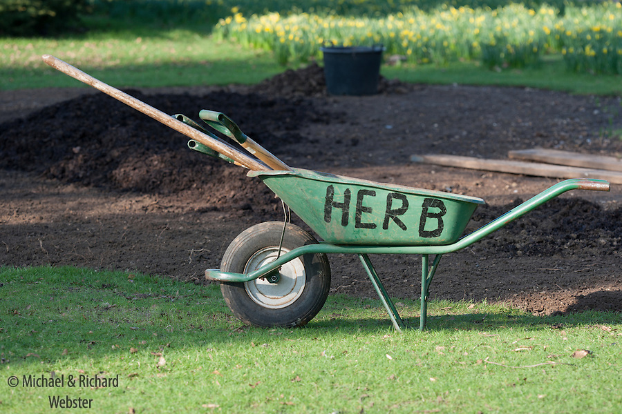 The green wheelbarrow