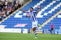 Colchester United's Mikael Mandron celebrating scoring a goal<br /> <br /> Photographer Hannah Fountain/CameraSport<br /> <br /> The EFL Sky Bet League Two - Colchester United v Stevenage Borough - Saturday August 12th 2017 - Colchester Community Stadium - Colchester<br /> <br /> World Copyright &copy; 2017 CameraSport. All rights reserved. 43 Linden Ave. Countesthorpe. Leicester. England. LE8 5PG - Tel: +44 (0) 116 277 4147 - admin@camerasport.com - www.camerasport.com