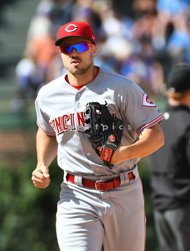 CHICAGO IL - May 18, 2017: Adam Duvall #23 of the Cincinnati Reds during a game against the Chicago Cubs on May 18, 2017 at Wrigley Field in Chicago, IL. The Cubs beat the Reds 9-5.(David Durochik/ SportPics)