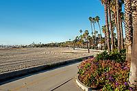 A view of the main beach by the harbor one January morning, Santa Barbara, California.