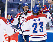 Josh Holmstrom (UML - 12), Scott Wilson (UML - 23) - The University of Massachusetts-Lowell River Hawks defeated the University of Alabama-Huntsville Chargers 3-0 on Friday, November 25, 2011, at Tsongas Center in Lowell, Massachusetts.