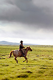 USA, Wyoming, Encampment, a cowboy on a horse runs through wide open landscape, Big Creek Ranch