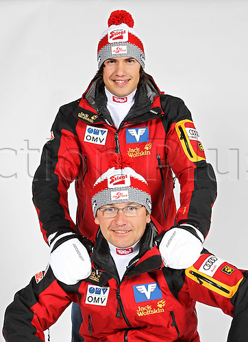 16.10.2010  Winter sports OSV Einkleidung  Austria. Ski Nordic Nordic Combination Ski jumping OSV Austrian Ski Federation. Picture shows team manager Florian Liegl rear and team manager Harald Diess AUT front