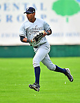 18 July 2010: Staten Island Yankees outfielder Eduardo Sosa in action against the Vermont Lake Monsters at Centennial Field in Burlington, Vermont. The Lake Monsters fell to the Yankees 9-5 in NY Penn League action. Mandatory Credit: Ed Wolfstein Photo