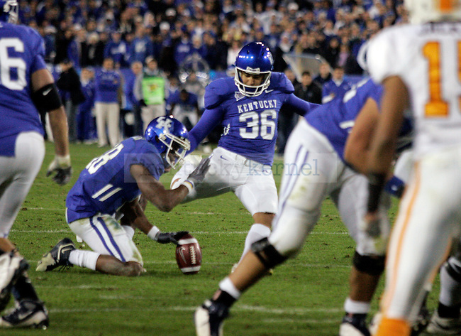 Senior kicker Lones Seiber makes a field goal, tying the score 24-24 in the second half of the UK's 24-30 loss to Tennessee at Commonwealth Stadium on Saturday, Nov. 28, 2009.