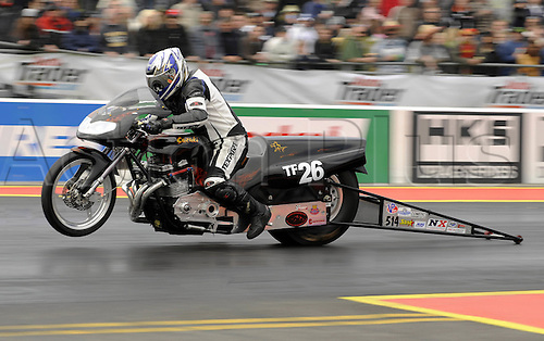 24 May 2008: Pro Stock bike in action at the FIA European Drag Racing Championships at Santa Pod Raceway, Northants. Photo: Leo Mason/Actionplus..motorsport dragster motorcycle bike 080524