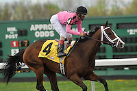In Lingerie (4) with John Velazquez riding, trained by Graham Motion, wins the Grade 3 Bourbonette Oaks at Turfway Park in Florence, Kentucky on Saturday March 24, 2012.