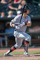 Bowling Green Hot Rods third baseman Michael Brosseau (10) follows through on his swing against the Great Lakes Loons during the Midwest League baseball game on June 4, 2017 at Dow Diamond in Midland, Michigan. Great Lakes defeated Bowling Green 11-0. (Andrew Woolley/Four Seam Images)
