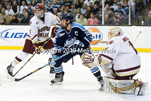 Patrick Wey (BC - 6), Tanner House (Maine - 29), John Muse (BC - 1) - The Boston College Eagles defeated the University of Maine Black Bears 7-6 in overtime to win the Hockey East championship on Saturday, March 20, 2010, at TD Garden in Boston, Massachusetts.