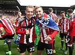 Sheffield United's Louis Reed and Harry Chapman celebrate during the League One match at Bramall Lane, Sheffield. Picture date: April 30th, 2017. Pic David Klein/Sportimage