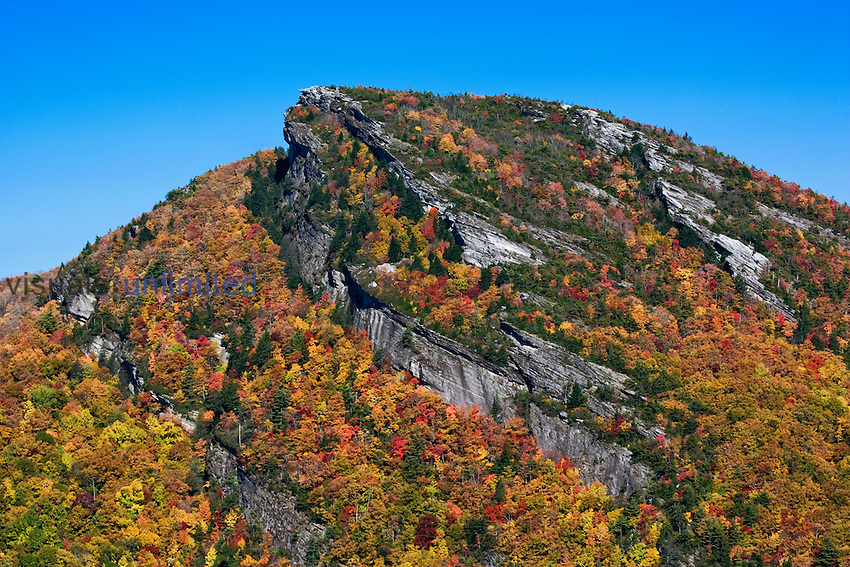 Autumn colors on a rugged Appalachian peak in Pisgah National Forest, North Carolina, USA.