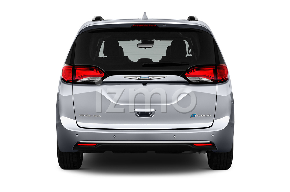 Straight rear view of a 2017 Chrysler Pacific Hybrid Limited 5 Door Mini Van stock images