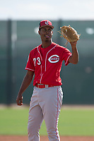 Cincinnati Reds relief pitcher Edward Escoboza (73) during a Minor League Spring Training game against the Los Angeles Angels at the Cincinnati Reds Training Complex on March 15, 2018 in Goodyear, Arizona. (Zachary Lucy/Four Seam Images)