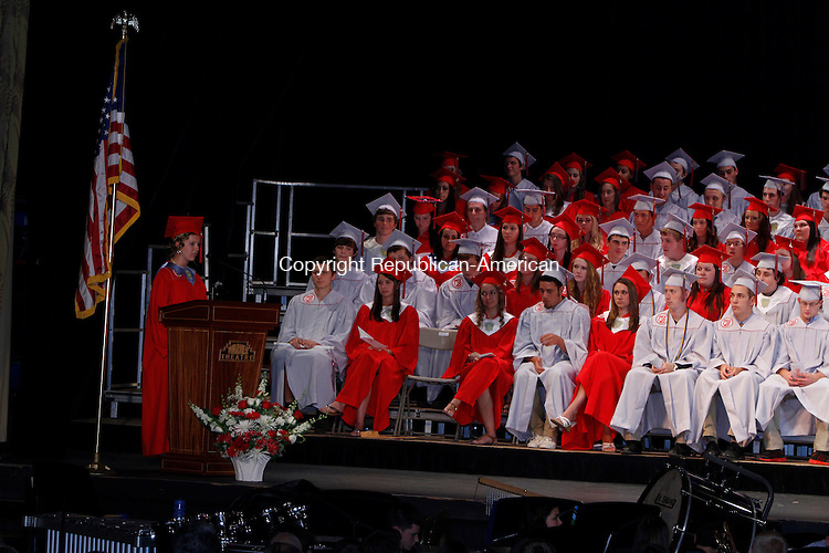 Torrington, CT-061913MK07 Victoria King, class president, addresses her classmates during the Northwestern Regional High School class of 2013 commencement exercises on Wednesday evening at the Warner Theatre in Torrington. Michael Kabelka / Republican-American.