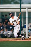 GCL Pirates center fielder Justin Harrer (16) follows through on a swing during the first game of a doubleheader against the GCL Yankees East on July 31, 2018 at Pirate City Complex in Bradenton, Florida.  GCL Yankees East defeated GCL Pirates 2-0.  (Mike Janes/Four Seam Images)