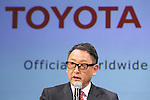 Akio Toyoda (President and CEO of Toyota Motor Corporation) appear at a ceremony on MARCH 13, 2015 in Tokyo, Japan to announce Toyota's sponsorship of the Olympic movement. Japanese auto maker Toyota signed up to become a top level Official Worldwide Olympic Partner. (Photo by Yohei Osada/AFLO SPORT) [1156]