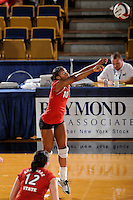 20 November 2008:  Arkansas State outside hitter Mandy DeWalt (10) returns the ball during the Middle Tennessee 3-0 victory over Arkansas State in the first round of the Sun Belt Conference Championship tournament at FIU Stadium in Miami, Florida.