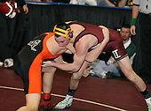 Bob Malvestuto and Rob Morey wrestle at the 152 weight class during the NY State Wrestling Championships at Blue Cross Arena on March 8, 2008 in Rochester, New York.  (Copyright Mike Janes Photography)