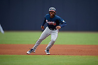Atlanta Braves Justin Dean (13) leads off first base during a Minor League Spring Training game against the New York Yankees on March 12, 2019 at New York Yankees Minor League Complex in Tampa, Florida.  (Mike Janes/Four Seam Images)