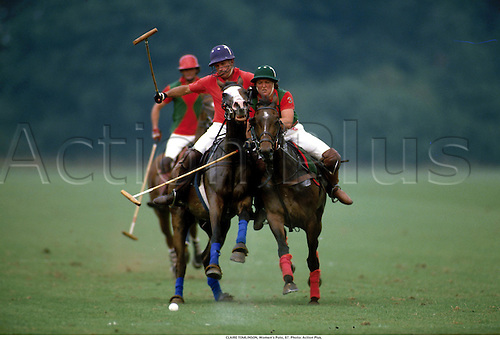 CLAIRE TOMLINSON, Women's Polo, 87. Photo: Action Plus....1987.equestrian.horses.polo.equestrian sport sports.woman.female horse