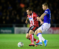 Lincoln City's Neal Eardley vies for possession with Everton's Gylfi Sigurdsson<br /> <br /> Photographer Chris Vaughan/CameraSport<br /> <br /> The Carabao Cup Second Round - Lincoln City v Everton - Wednesday 28th August 2019 - Sincil Bank - Lincoln<br />  <br /> World Copyright © 2019 CameraSport. All rights reserved. 43 Linden Ave. Countesthorpe. Leicester. England. LE8 5PG - Tel: +44 (0) 116 277 4147 - admin@camerasport.com - www.camerasport.com