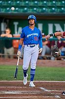 Daniel Robinson (50) of the Ogden Raptors bats during a game against the Idaho Falls Chukars at Lindquist Field on August 29, 2018 in Ogden, Utah. Idaho Falls defeated Ogden 15-6. (Stephen Smith/Four Seam Images)