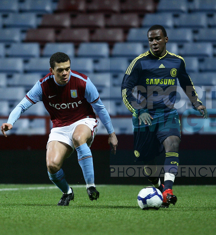 Aston Villa defender Wilfred Bouma made his long-awaited return to competitive action in the reserve game against Chelsea at Villa Park. He keeps a close eye on Chelsea's Gael Kakuta
