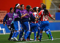 Paraguay celebrate a goal..FIFA U17 Women's World Cup, Paraguay v USA, Waikato Stadium, Hamilton, New Zealand, Sunday 2 November 2008. Photo: Renee McKay/PHOTOSPORT