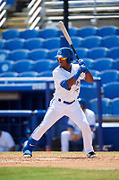 Dunedin Blue Jays left fielder Rodrigo Orozco (3) at bat during a game against the Daytona Tortugas on April 22, 2018 at Dunedin Stadium in Dunedin, Florida.  Daytona defeated Dunedin 5-1.  (Mike Janes/Four Seam Images)