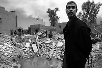 Baghdad, Iraq, March 30, 2003.Missing its target (a telecommunication center in Adamiyeh) by about 100 meters, a US cruise missile totally destroyed a group of shops, luckily empty at the time of the blast.